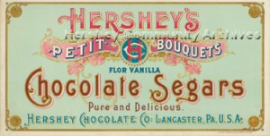 Early Hershey Chocolate Company product packaging often featured the company's first trademark, an intertwined H-C-Co.