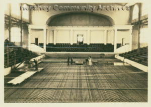 Laying the ice rink in the Convention Hall to convert it to the Ice Palace, ca. 1931