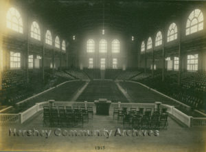 Hershey Convention Hall ready for its first meeting. Note that the ceiling has not yet been plastered. 6/1915