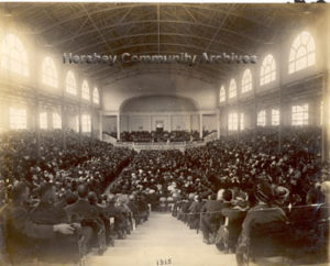 Brethren gather to meet in Hershey's Convention Hall. 6/1915