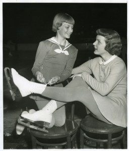 In 1953 Tenley Albright (right) won the gold medal at the United States Figure Skating Championship held in Hershey, PA. Silver medalist Carol Heiss is pictured left.