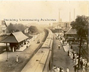 Passengers disembark an eastbound train at the Hershey railroad station. ca.1913