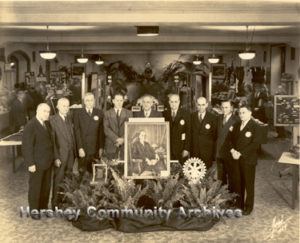 One of the Hershey Rotary Club's first activities was to sponsor a local business expo. Pictured here are the club's organizers. left-right: Carl Britton, Harry.N. Herr, T. Egan, Albert Schmidt, John.B. Sollenberger, Edwin Wagner, Harry Erdman, D. Paul Witmer, W. Allen Hammond.