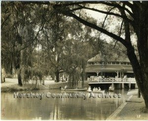 When Milton Hershey purchased the Dentzel carrousel he had it installed next to Spring Creek. ca1933
