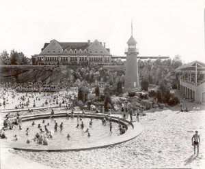 Hershey Park Swimming Pool; sand beach, kiddie pool and iconic lighthouse; 1930