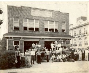 New Fire Hall on West Caracas Avenue, men posing with Selden and Packard pumpers. 1928