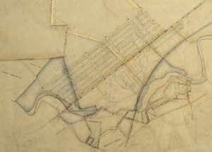 Detail of map of Milton Hershey's land purchases and proposed layout of new community. ca1903
