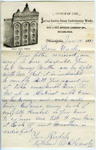 Letter: Milton Hershey to Uncle Abraham Snavely; 01/14/1881