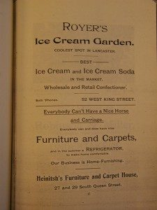 Advertisement for Joseph Royer's Ice Cream Parlor and Garden, Lancaster, PA ca. 1870