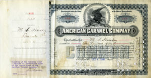 150 shares of American Caramel Company stock owned by Milton S. Hershey. Sold 10/4/1900