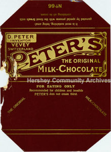 Peter's Milk Chocolate bar wrapper. ca1903-1905