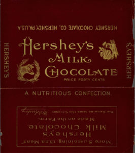 Hershey's Milk Chocolate bar wrapper, gold and maroon. Hershey marketed bars in a variety of sizes, including a 8 ounce bar, retailing for 40 cents. 1902