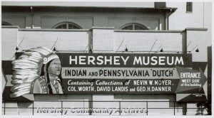 Sign advertising the Hershey Museum, placed on the side of the remodeled Convention Hall. ca 1953-1970