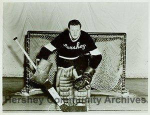 """Hershey Bears goalie, Gordon """"Red"""" Henry, ca1946-1955"""