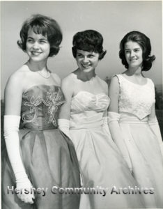 Peggy Evans (center) was crowned Hershey's Rose Queen on May 5, 1963. Her court included Maryanne Nemocovsky (left)and Suzanne Hershey (right). 5/5/1963