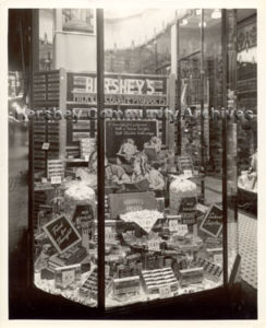 Hershey Chocolate offered a variety of promotional displays to stores to help them promote Hershey products. ca1936