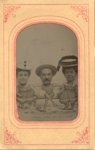 Milton and Catherine Hershey pose with friend Adeline Jackson (on left) at Coney Island. ca1910