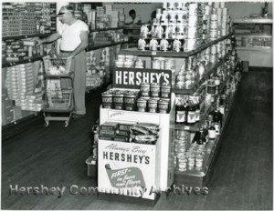 Hershey Chocolate in-store display. ca.1945-1950