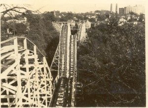 Wild Cat roller coaster was modified after it was built to make its dips higher and the curves more steeply banked. ca. 1925