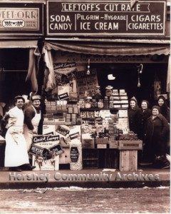Sidewalk candy display created by a Hershey Chocolate salesman for Leftoff's Retail Store, Bronx, New York. 1938