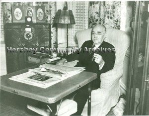 Milton Hershey, seated in his apartment living room in High Point. 5/1937