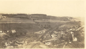 Aerial view of Derry Church, looking north. Note location of Derry Presbyterian Church in right hand corner. ca1924