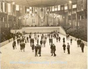 Hershey Figure Skating Club members pause for a photograph in the Ice Palace. ca1934-1936