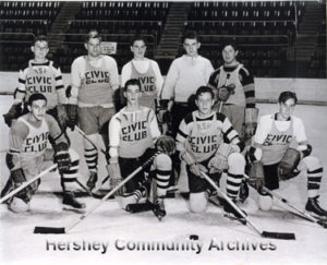 The Hershey Civic Club sponsored a variety of youth sports teams, including a junior ice hockey team. This 1941 team included (left-right) 1st row: Irv Gonz, Bob Evans, Jack Bernard, Dick Brunner. 2nd row: Endo Corsetti, Sterling Sechrist, Bud Prowell, Herb Erdman, Dick Stover.