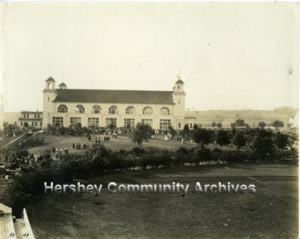 Visitors gather outside Hershey Convention Hall. 1925