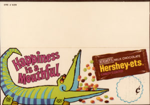 Hershey-Ets shelf talkers such as this piece promoted the products from the grocery shelf. ca.1973