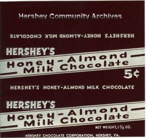 Hershey's Honey-Almond Milk Chocolate. 1935-8/1939
