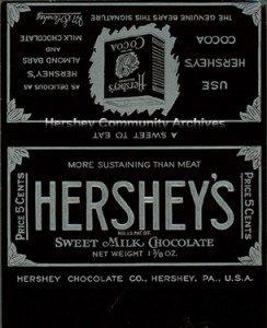 Bar wrapper for Hershey's Milk Chocolate bar. ca. 1912-1926