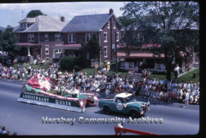 Hershey Anniversary Rose Queen float was featured in the Fireman's Parade. June 15, 1963