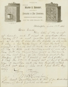 Letter: Milton Hershey to his Uncle Christian Snavely, 1/13/1882