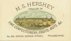 Milton Hershey's first business card. ca.1876