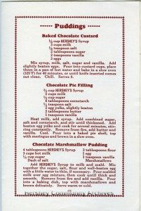 Recipes using Hershey's Syrup, ca.1928-1933