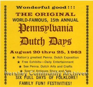 Table tent advertisement for 1963 Dutch Days