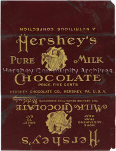 Hershey's Milk Chocolate bar wrapper, designed by Ketterlinus Lithographic Manufacturing Company. 1903