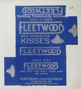 Fleetwood Milk Chocolate Kisses box. 1923