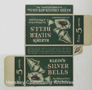 "One of Hershey's many competitors, Klein Chocolate Company marketed their conical pieces of chocolate as ""Silver Bells."" ca1930"