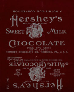 Hershey's Milk Chocolate bar wrapper. 1906-1911