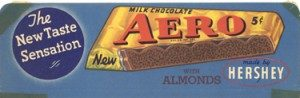Hershey Chocolate acquired the rights to manufacture and market the Aero bar in the United States from the Rowntree Company.
