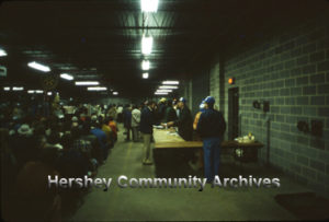 Registration desk at the annual Hershey Rotary Club auction. 4/22/1982