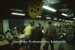 View from the Auctioneer's podium, Hershey Rotary Club Auction, 4/22/1982