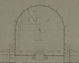 Detail view of the Hotel Hershey first floor plan. Note the support column placed in the center of the circular dining room. As the plan indicates, Mr. Hershey ordered its removal. 1932