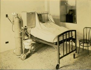 Hershey Hospital bed with breathing blanket covering. ca.1934
