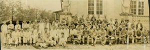 Group portrait, Hershey Community Buildilng construction crew. 1932