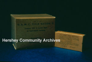 Ration D wrapped bar and shipping carton. 1942