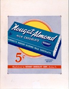 Point of purchase advertising placard for Hershey's Nougat-Almond Milk Chocolate. 1939-1941