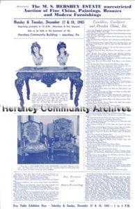 Flyer: M.S. Hershey Estate Auction, December 17 & 18, 1945